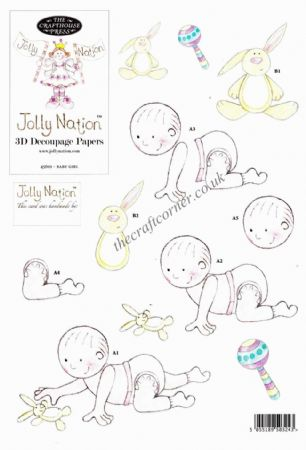 Baby Girl Jolly Nation Die Cut 3D Decoupage Sheet